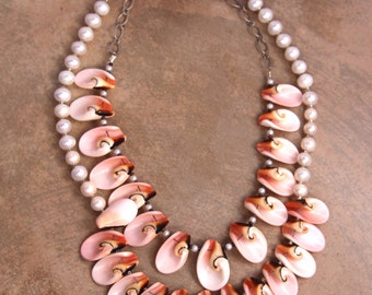 Special Offer: Two Pink Shell and Pearl Necklaces Delicate Pink and Cream Luahanus Shell Petals with Pearls Beach Bridal Jewelry