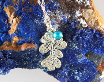 Small Silver Oak Leaf Pendant and Real Leaf Necklace, Small Pendant Necklace