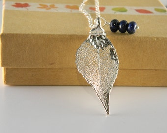 "Silver Laurel Leaf Necklace on 27"" chain, Electroplated Real Leaf with Lapis charm"