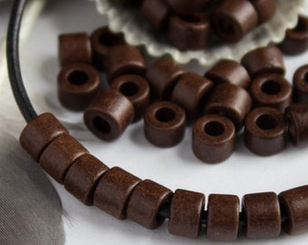 30 Mykonos Greek Ceramic bead Earthy Bitter Chocolate brown Mini Tube 6X4mm Beads Autumn colors craft jewelry supplies DIY