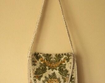 REDUCED Vintage 1960s 70s Cabbage Rose Damask Italian Tapestry Shoulder Purse - Misier Simon Ernest