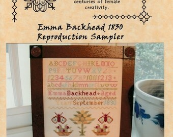 Of Female Worth Counted Cross Stitch Chart Reproduction Sampler Emma Backhead