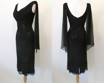 """ON HOLD Jaw Dropping 1950's  Chiffon & Lace Designer Cocktail Party Dress w/ Shoulder Sashes by """"Raynor"""" Rockabilly Pinup Vixen Size-Medium"""