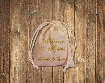 Real Gold Foil Welcome Favor Bags/ Custom Muslin Bags