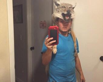 Mounted head Coyote skin headdress w feet Native american Made