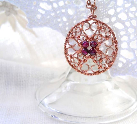 Garnet and Filigree Copper Maltese Cross Pendant