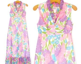60s Maxi Dress * Spring Floral Dress * Vintage 1960s Ruffle Dress * XS