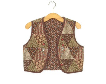 Vintage Quilted Vest * Patchwork Calico Vest * Bolero Vest * Cropped Waistcoat * Medium - Large