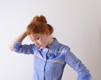 Montsoie, sky blue vintage blouse, Japan, Kyoto, xs - small