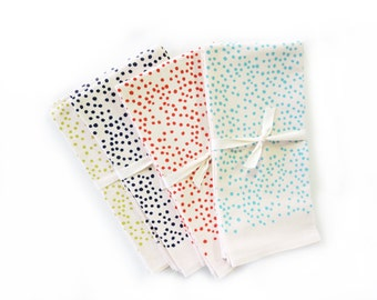 NEW Napkins Polka Dots / Set of 2 Napkins / Yellow, navy, red orange, aqua
