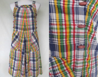 Late 1960s Early 1970s Apron Dress, Jumper, Tent-Shape, Pinafore, Plaid Seersucker, Barclay Square, Extra Small