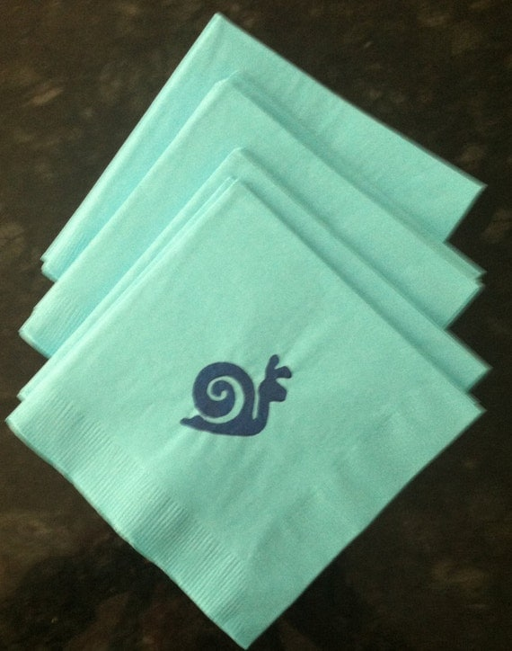 Blue snail paper cocktail luncheon dinner napkins from for Painting with a twist greenville sc