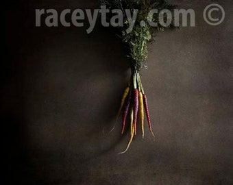 Heirloom Carrots Print, Rustic Kitchen Decor, Brown, Green, Orange, Purple, Food Photography