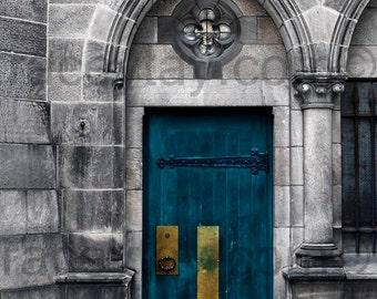 Photograph of a Blue Door, Paris Print, Teal Wall Art, Gray, Blue, Gold, Rustic, Wall Decor, Neutral Wall Art, Paris Photography