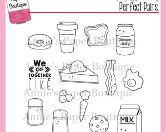 Planner Stamps - Perfect Pairs - for Filofax, Erin Condren, Travelers Notebook - Clear, Kawaii, Food Bacon Coffee Donut, Valentine's Day