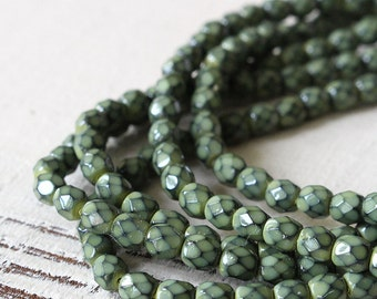 50 - 4mm Honeycomb Firepolished Glass Beads - Jewelry Making Supplies - Sage Green Honeycomb