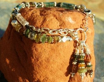 Green & Gold Tourmaline Bracelet, Handmade 2 Strands Boho Chic Bracelet, Extreme Dangles, Handcrafted Artisan Sterling Silver Bracelet