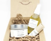 Spa Gift Set - Lip Therapy Balm, Botanical Massage Oil and Aromatherapy Soy Candle Tin