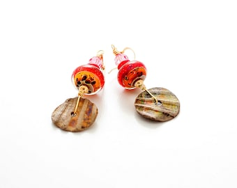 Rustic Red Lampwork Bead Earrings. Southwest Colors. Boho Gypsy Glass Bead Earrings. Small Dangle Earrings. Lampwork Jewelry.