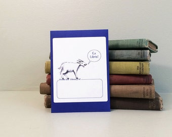 Goat book plate stickers, set of 17 plus one on envelope. Custom printing option for baby showers, bridal showers, or other gift books.