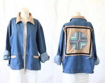embroidered seed bead sun denim jacket