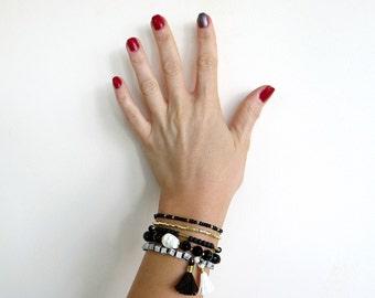 Beaded Bracelet Set, Unisex Stackable Bracelets, Black and White Bracelets, Stacking Bracelet