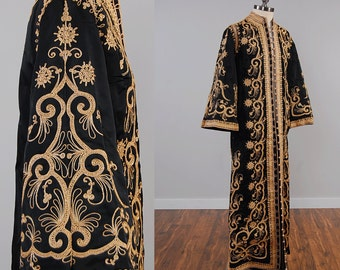 Vintage 60s black satin MOROCCAN maxi tunic jacket with gold metallic embroidery / BELLED sleeves / Ornate gold metal embroidered caftan
