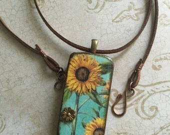 Sunflower Pendant, Flower Pendant, Upcycled Domino Pendant, Leather Necklace, Rustic Leather Necklace