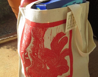 Chicken Squid Canvas Market Bag