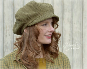 Slouchy Newsboy Hat Cap in Olive Green Corduroy