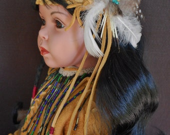 Lowest price this year - Christmas Sale - American Indian handmade 28 inch porcelain doll - handmade deer hide outfit & moccasins