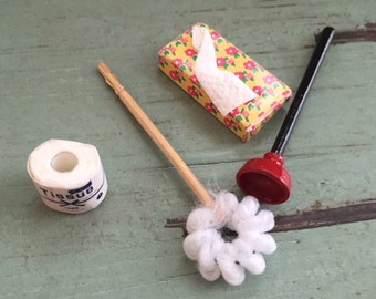 Miniature Bathroom Cleaning, Accessories Set, Dollhouse Miniatures by Timeless Minis, Packaged Set With Toilet Paper, Brush, Plunger, Tissue