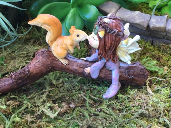 Little Fairy Kissing Squirrel Figurine Fairy Garden By
