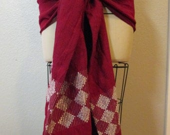 Red & white woven shawl Hip Scarf Bellydance belly dance tribal fusion cabaret ATS