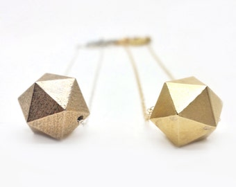 icosahedron: 3d printed jewelry // geometric faceted statement necklace // steel // modern minimalist // modern jewelry