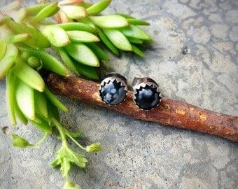 Balance ~ Sterling Silver 5mm Handcrafted Earrings featuring Snowflake Obsidian - Post Earrings - Stud Earrings - Boho - Bohemian