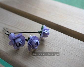 Lavender Purple Bridal Rose (Rosie Posie design)(3 hair pins)  romantic pastel Rose Flower Rose Bobby Pins,Hair Clips for Wedding Hair updos