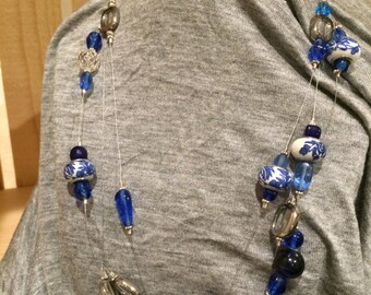 Dutch Blue Triple Strand Necklace