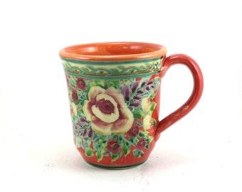 Orange Coffee Mug - Handmade Porcelain Tea Cup - Rose and Floral Design - One of a Kind - OOAK