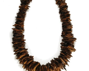 Tribal Necklace - Wooden COCONUT SHELL Chunky Beaded Necklace - Bold Organic Beach Nature Jewelry - Earthy Hippie Boho Statement Necklace