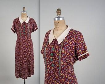 1930s jelly bean day dress • vintage 30s dress • cotton novelty print dress • larger size (SH)