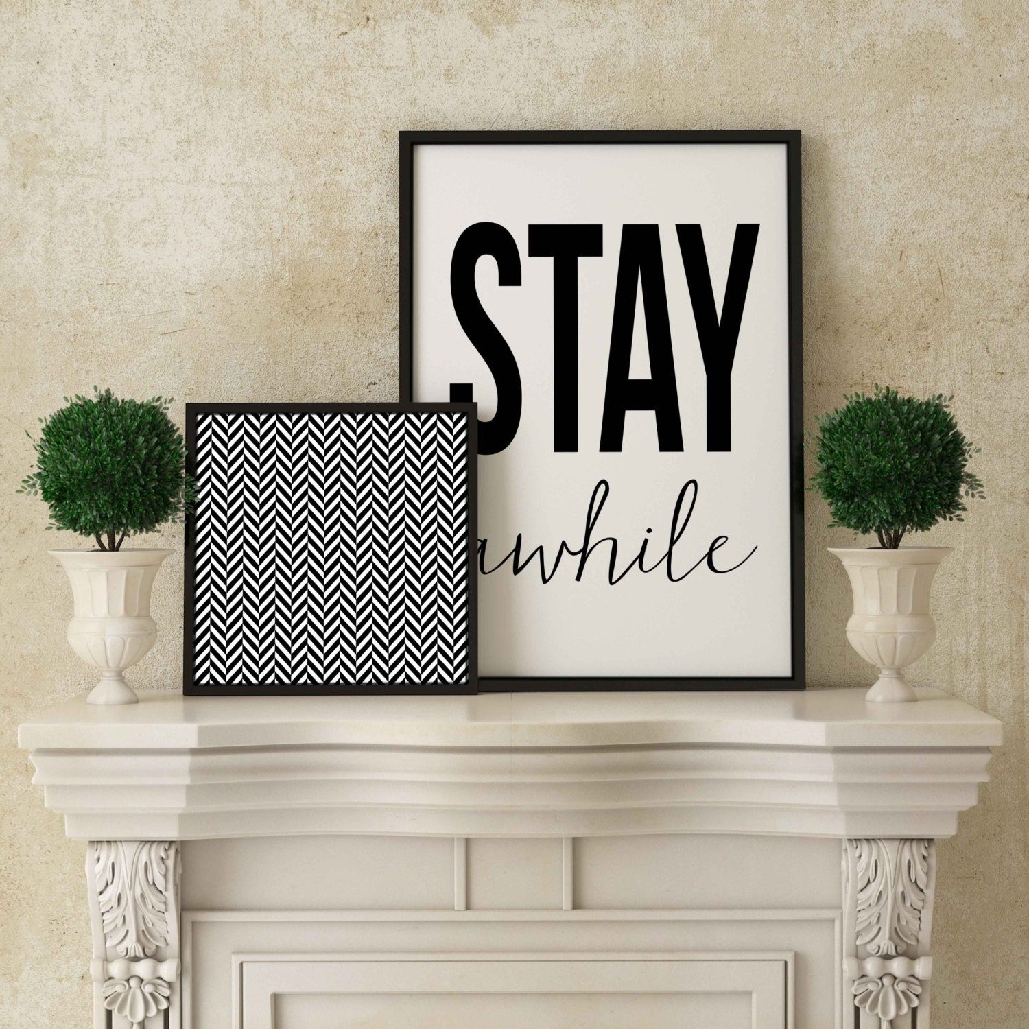 Stay awhile welcome sign home decor instant download diy for Diy welcome home decorations