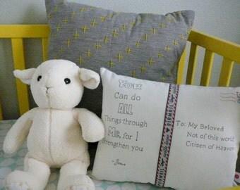 Postcard Pillow - From Jesus - Decorative Pillow - Encouragement - Scripture