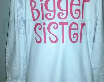 Bigger Sister Shirt or Bodysuit Hot Pink  Bigger Sister Shirt Sibling Shirt Pregnancy announcement Shirt Bigger Sis Shirt Bigger Sister