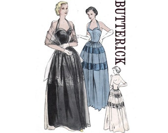 RARE 50s Halter Cocktail Gown Pattern Butterick 5138 Evening Prom Dress Vintage Sewing pattern Size 14 Bust 32 inches UNUSED Factory Folded
