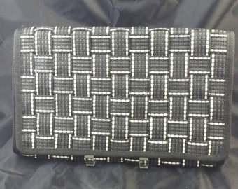 Vintage Black & White Straw Clutch Signed Made in Italy