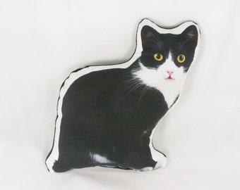 Cat Pillow Stuffed Animal Cat Gift Black and White