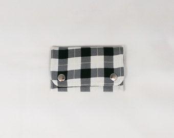 Plaid Snap Wallet Plaid Business Card Holder Black White Slim Wallet Stripe Case Business Card Wallet Card Case