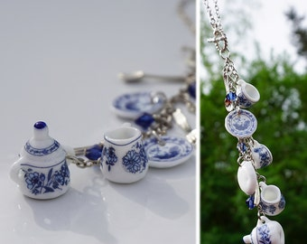 Blue Flower China Car Charm for Rear View Mirror