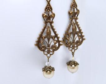 Long Antique Brass Filigree Earrings, Art Deco Pearl Earrings, Renaissance Revival, Victorian Earrings, Vintage Weddings, Bridal Jewelry